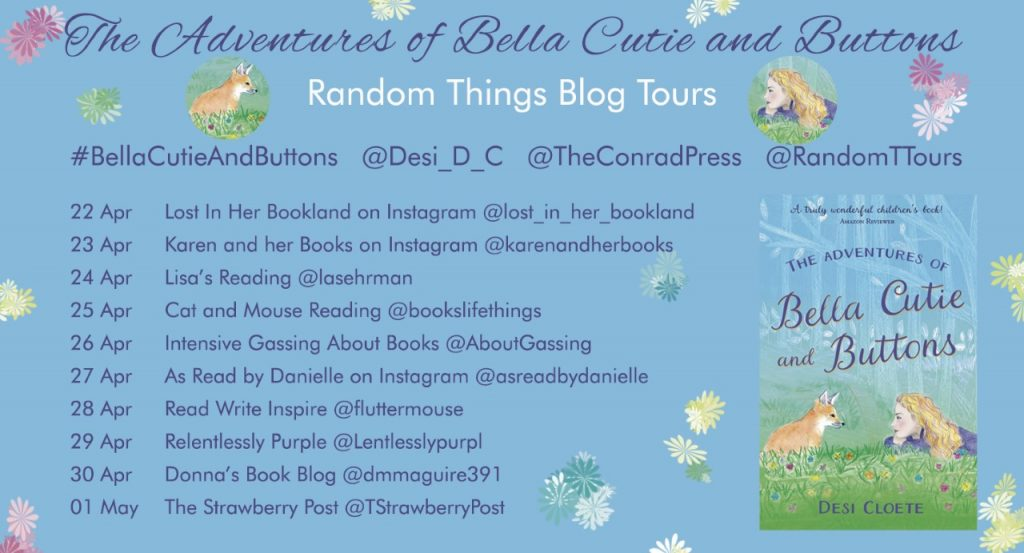 The Adventures of Bella Cutie and Buttons Blog Tour banner